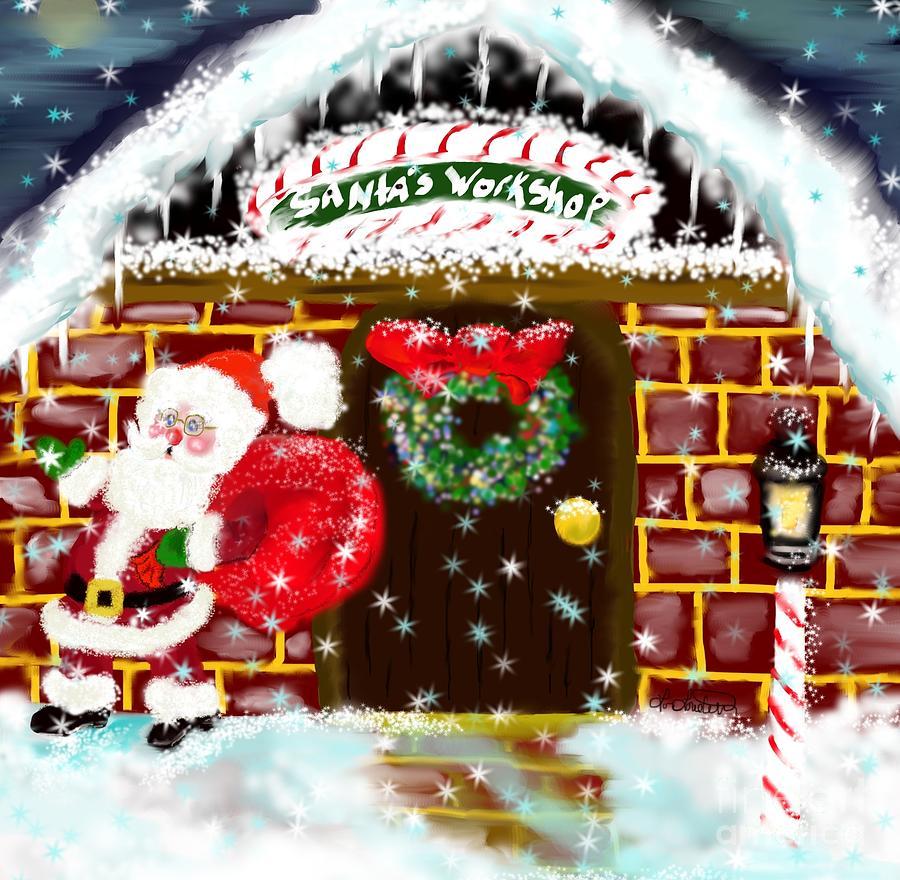 Christmas Painting - Santas Workshop by Lori  Lovetere