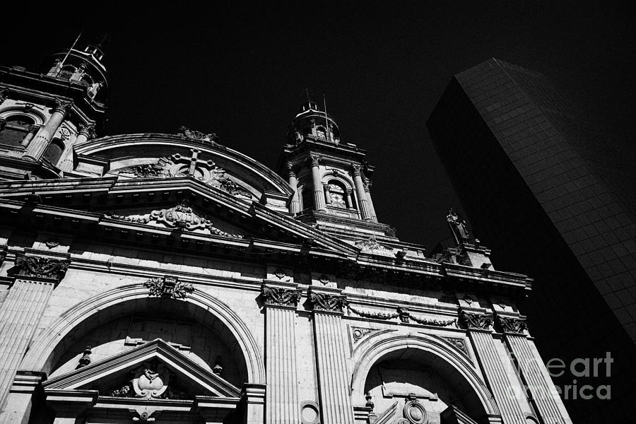 Santiago Photograph - Santiago Metropolitan Cathedral Next To Modern Glass Clad Office Block Chile by Joe Fox