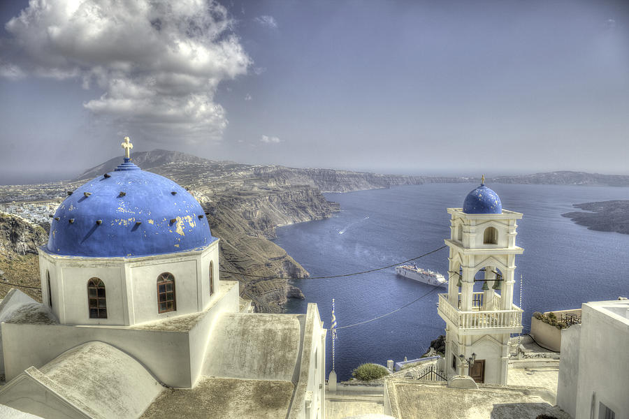 Santorini Photograph - Santorini Churches by Alex Dudley