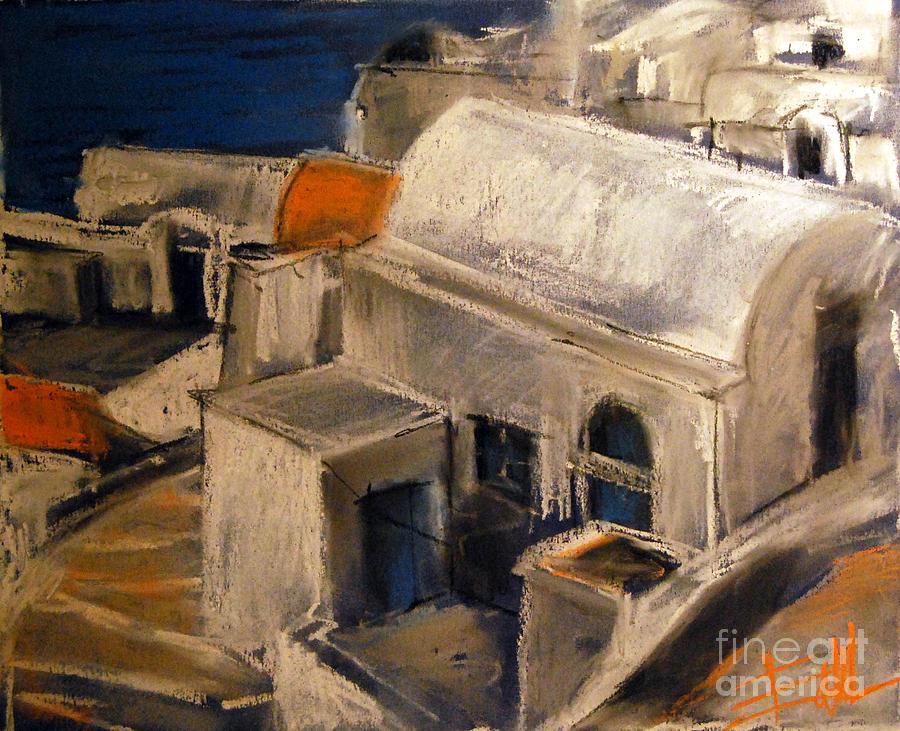 Mona Edulescu Pastel - Santorini by Mona Edulesco