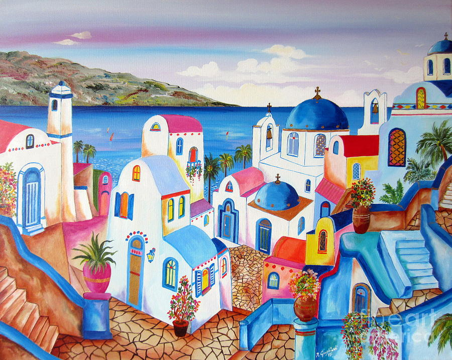 Santorini Paintings On Wood