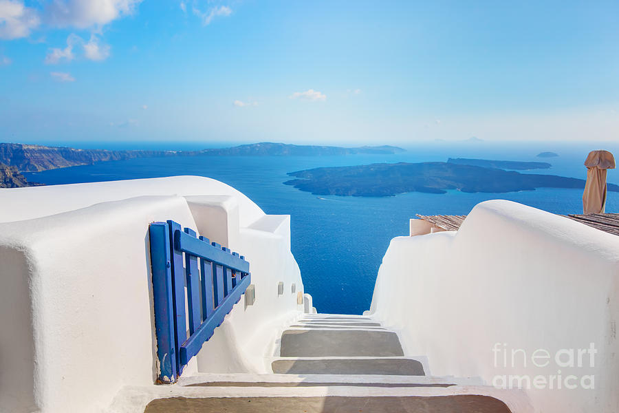 Greece Photograph - Santorini Greece Stairs To Aegean Sea by Michal Bednarek