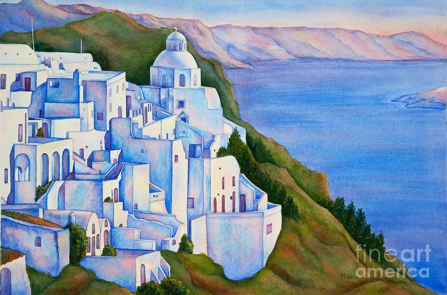 Santorini Greece Watercolor by Michelle Constantine