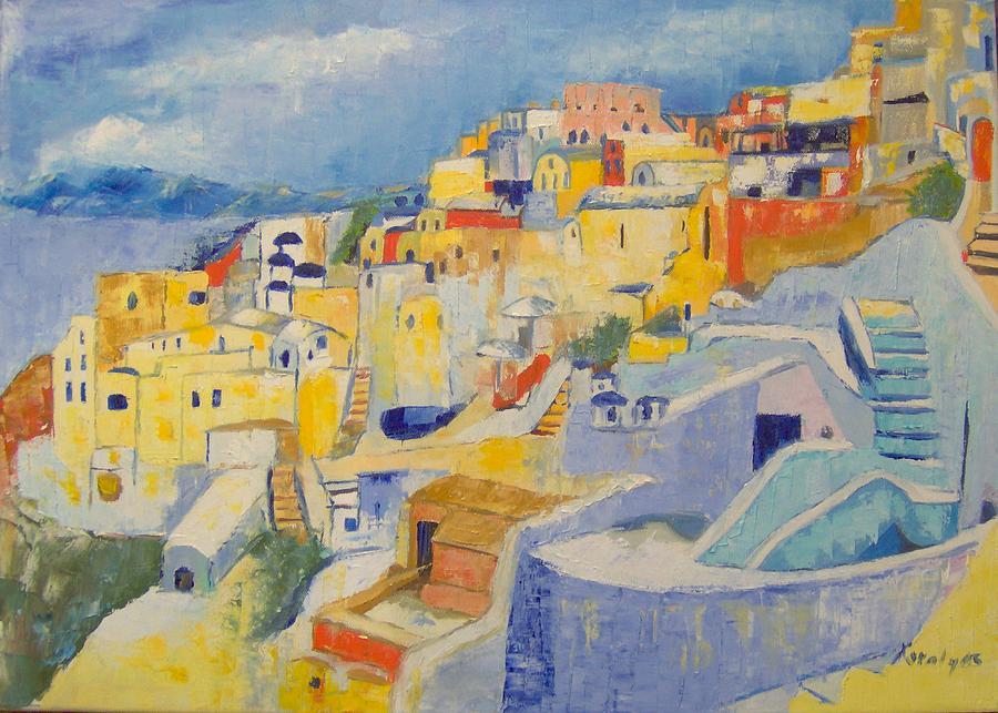 Santorini Island Painting - Santorini by Maria Karalyos
