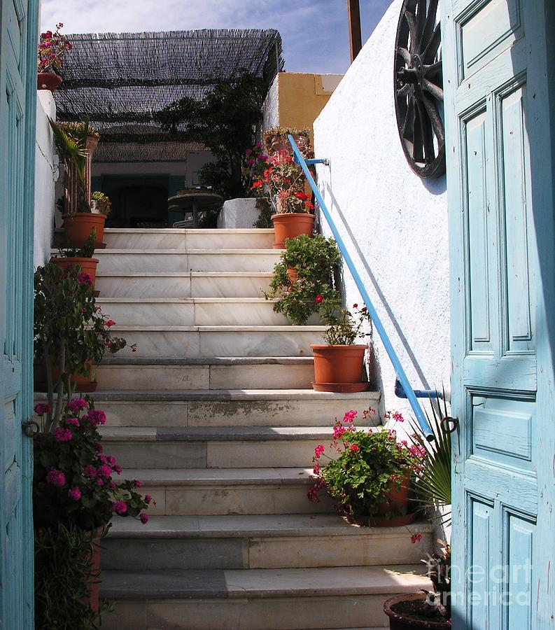 Cityscapes Photograph - Santorini Steps by Mel Steinhauer