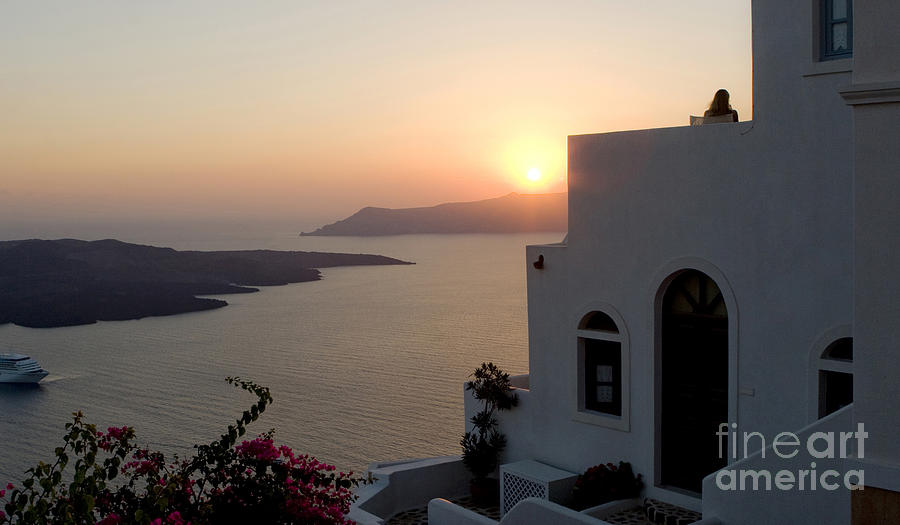 Santorini Sunset 24x14 by Leslie Leda