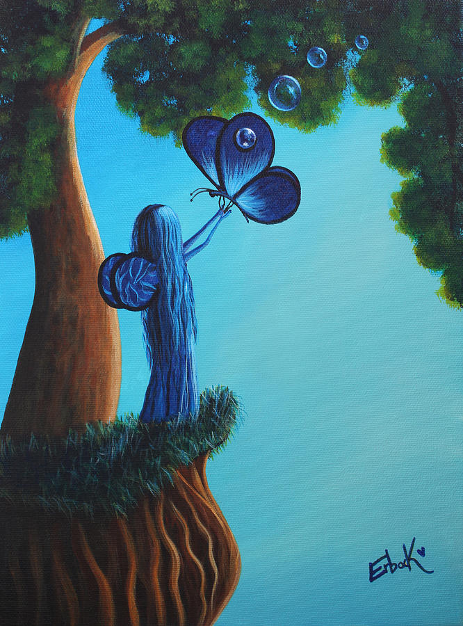 Sapphire Fairy Original Whimsical Painting by Erback Art
