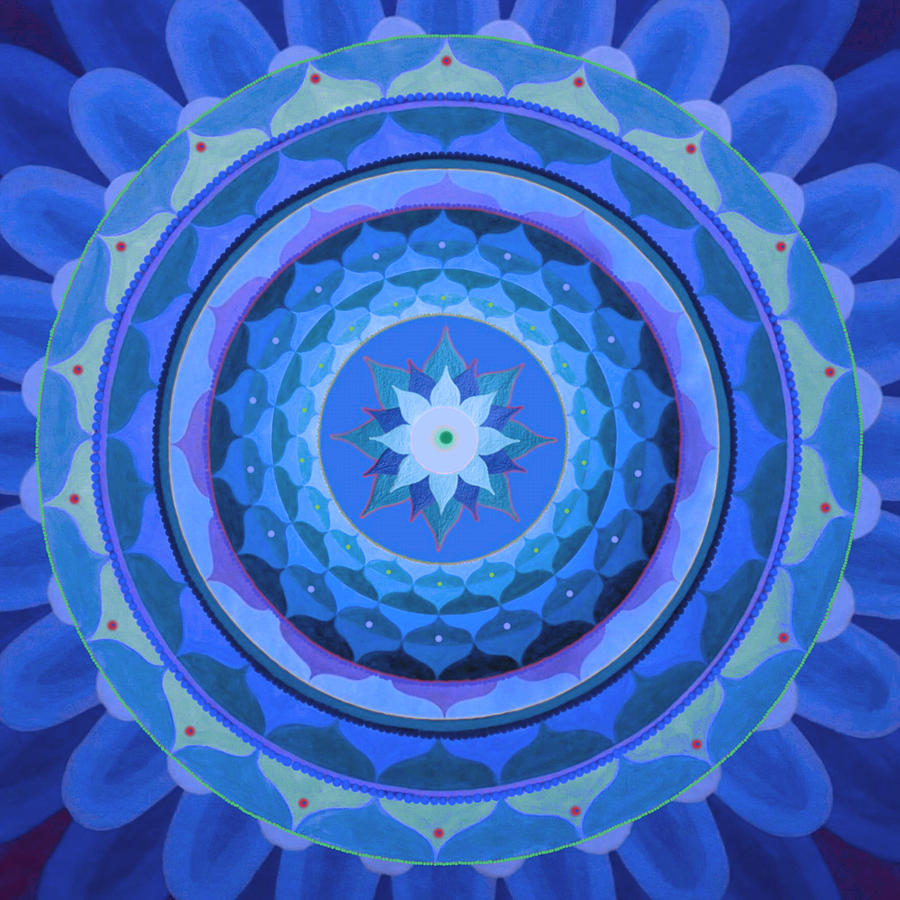 Sapphire Mandala Painting by Vlatka Kelc