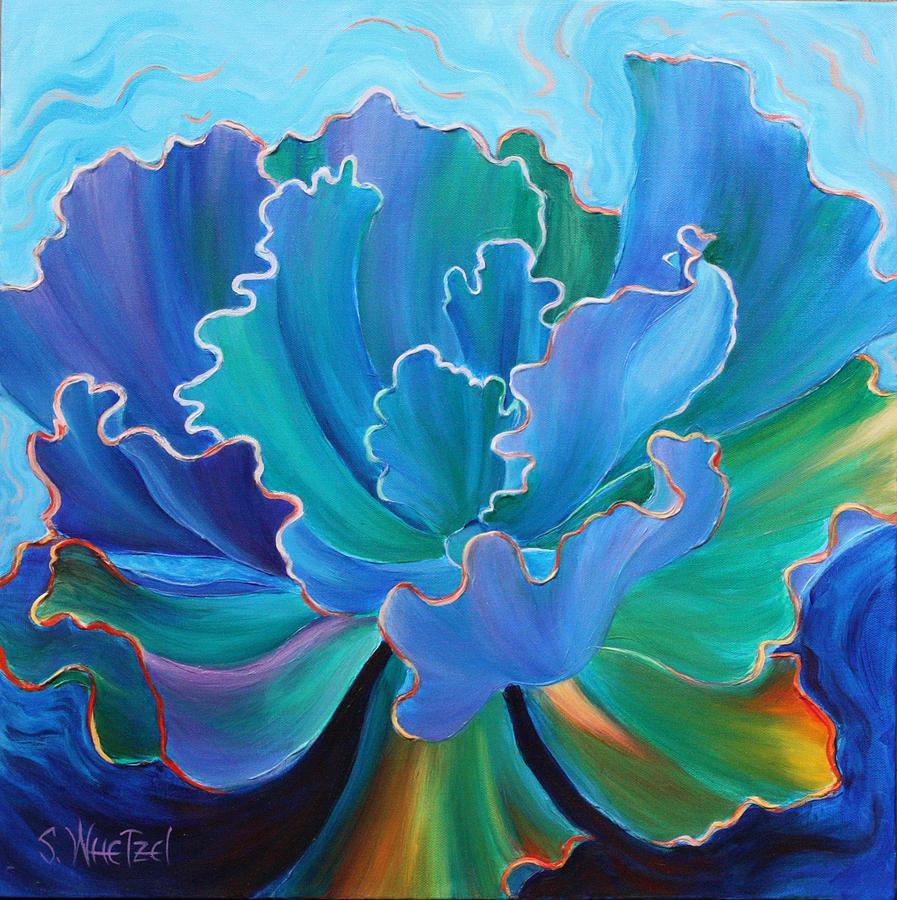 Succulent Painting - Sapphire Solitaire by Sandi Whetzel