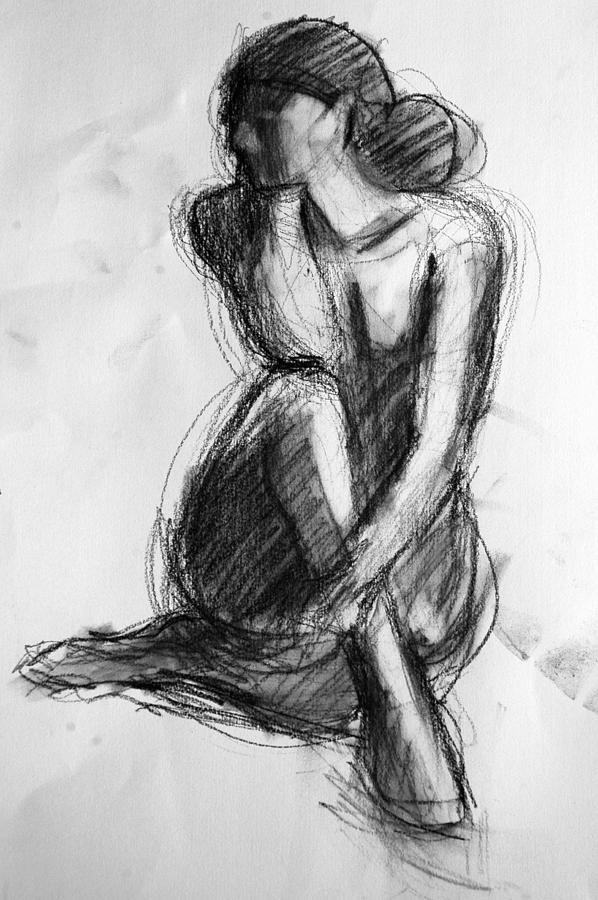 Female Nude Drawing - Sara by Colleen Gallo
