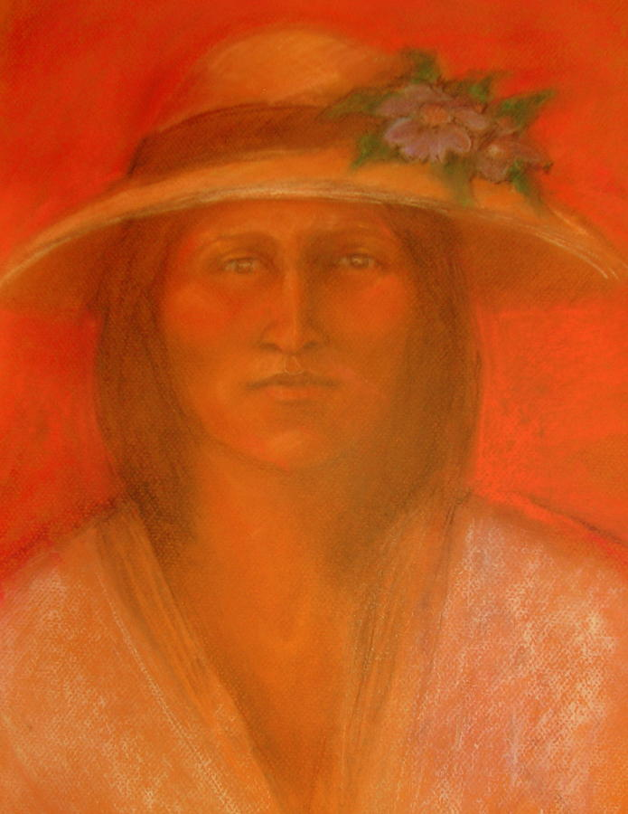 Portraiture Pastel - Saras Spring Hat by Johanna Elik