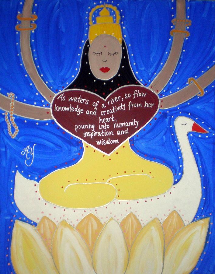Icon Painting - Sarasvati by Angela Yarber