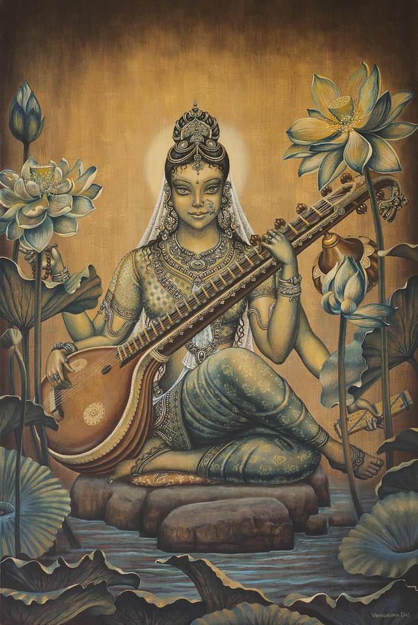 Sarasvati Painting - Sarasvati Shakti by Vrindavan Das