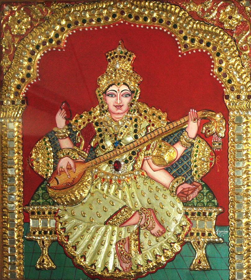 Tanjore Painting - Saraswathi  by Jayashree