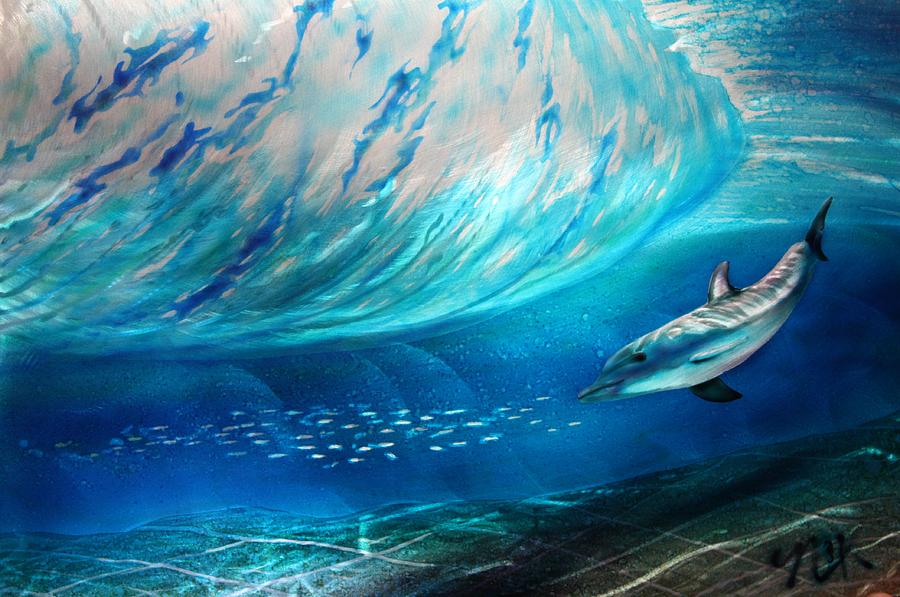Dolphin Painting - Sardines For Lunch  by Nick Knezic
