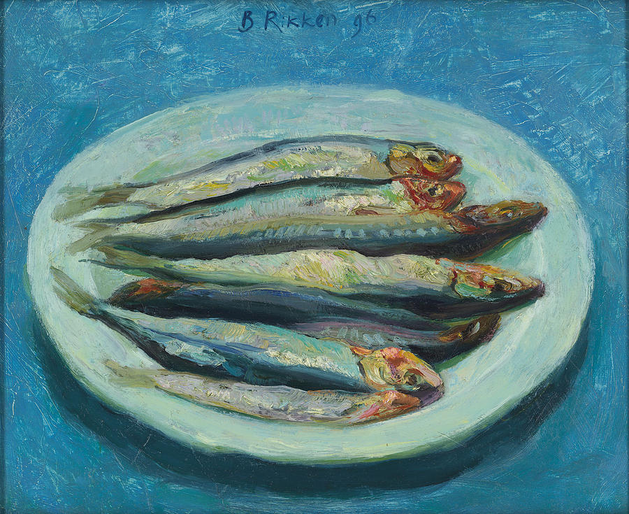 Fresh Sardines Painting - Sardines On A White Plate by Ben Rikken
