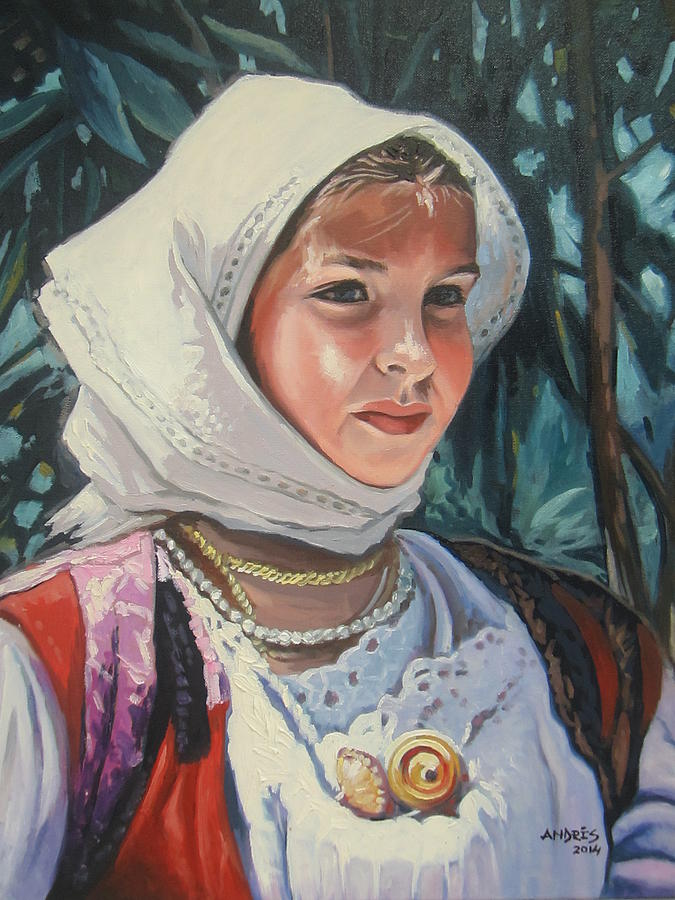 Sardinian Girl Painting by Andrei Attila Mezei