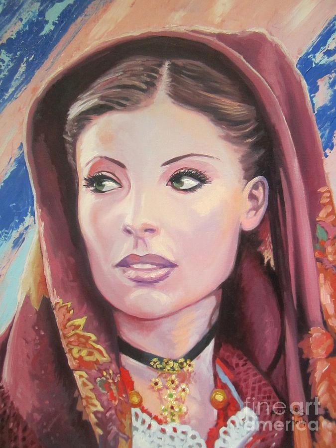 Beautiful Sardinian Woman Paintings Painting - Sardinian Lady by Andrei Attila Mezei