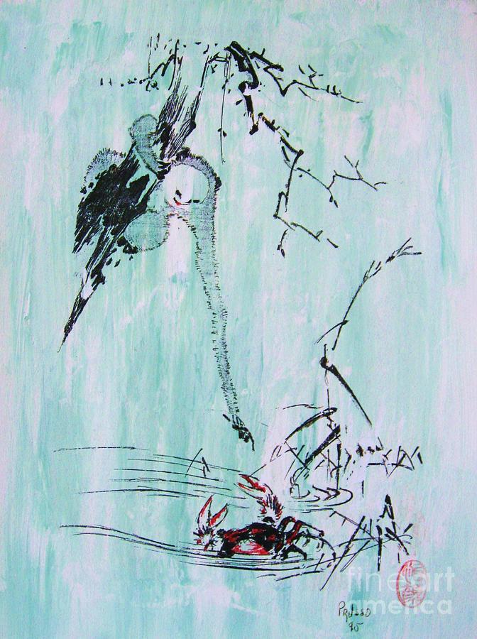 Fauna Painting - Saru Kani Kassen by Roberto Prusso