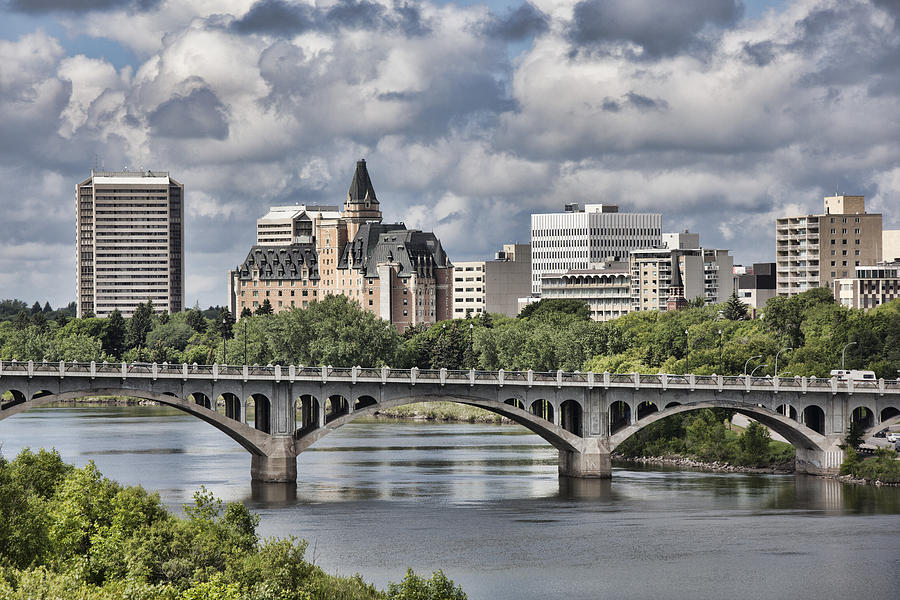 Saskatoon Skyline With Broad View Of The University Bridge Photograph by Dougall_Photography