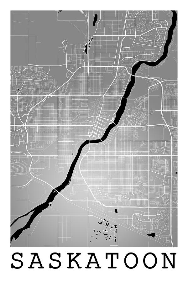 Saskatoon Street Map - Saskatoon Canada Road Map Art On Colored Digital Art