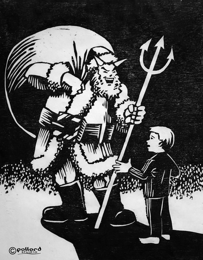 Devil Painting - Satan Santa by Glenn Pollard
