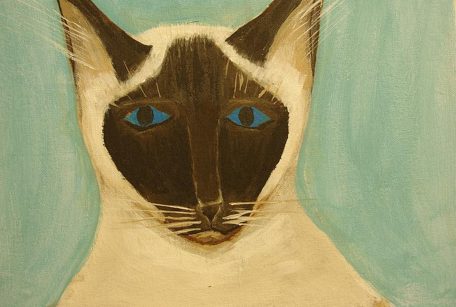 Cat Painting - Sateen by Keith Nichols