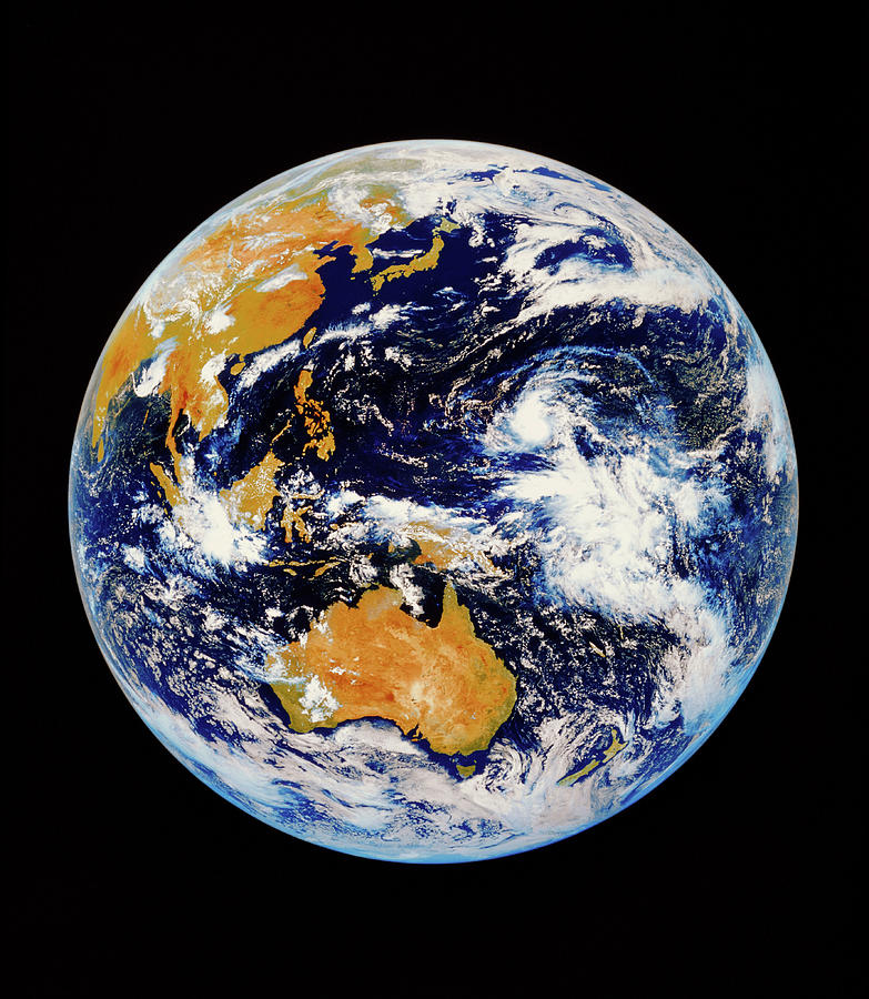 Round Shape Photograph - Satellite Image Of Australasia by Kevin A Horgan/science Photo Library
