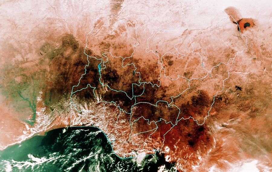 Nigeria Photograph - Satellite Mosaic Of Nigeria by Mda Information Systems/science Photo Library