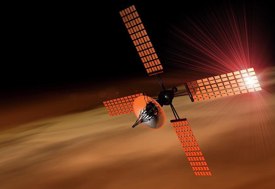 Satellite Orbiting Mars, Artwork Digital Art by Victor Habbick Visions