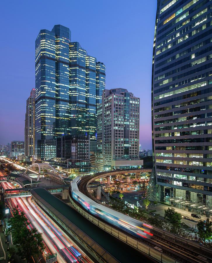 Sathorn Intersection With Sky Train Photograph by Thanapol Marattana