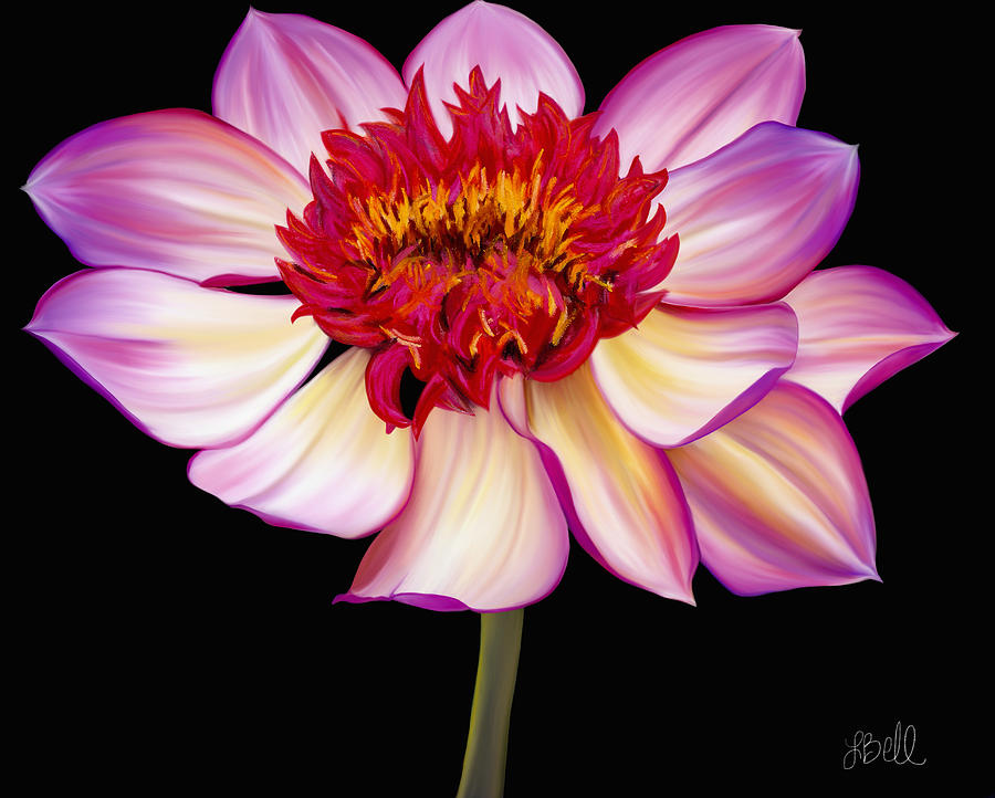 Dahlia Painting - Satin Flames by Laura Bell