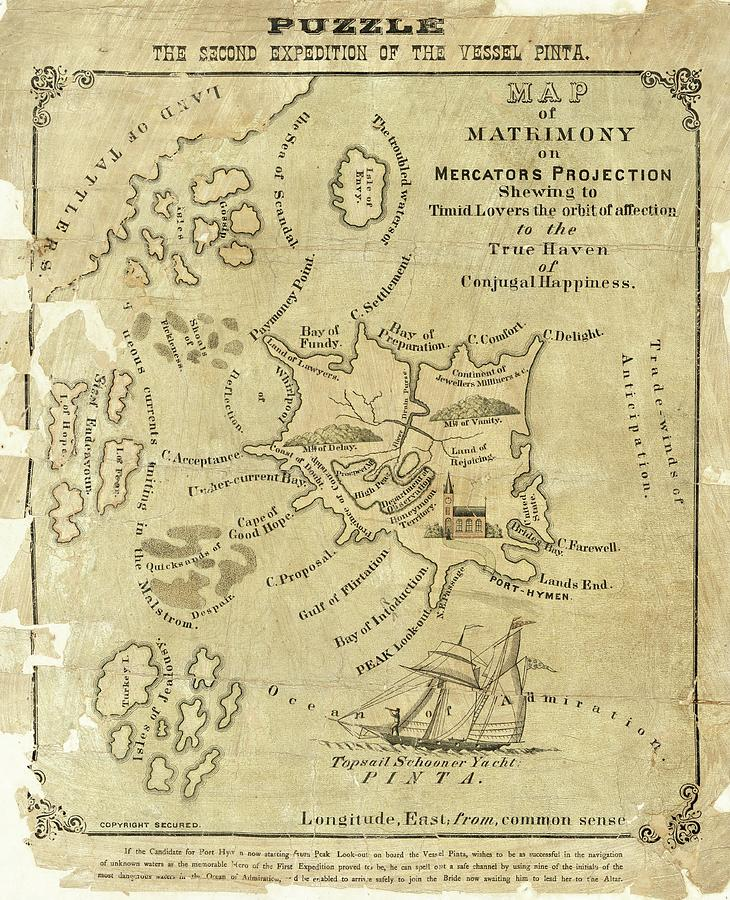 Map Photograph - Satirical Map For Lovers by Library Of Congress, Geography And Map Division