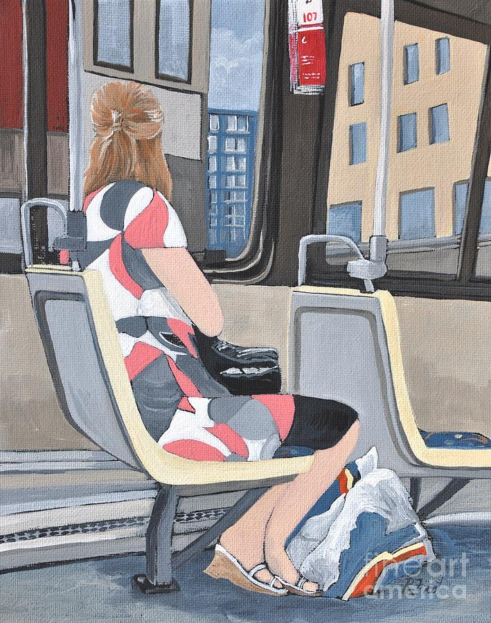 Bus Rides Painting - Saturday Morning On The 107 by Reb Frost