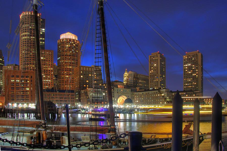 One International Place Photograph - Saturday Night Boston Hustle by Joann Vitali