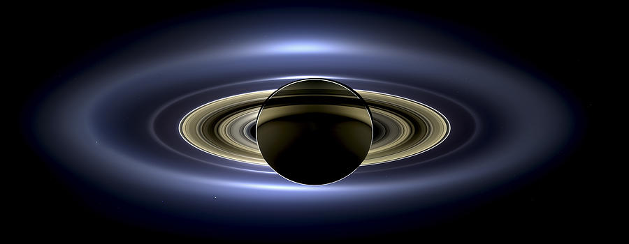 Cassini Photograph - Saturn Mosaic With Earth by Adam Romanowicz