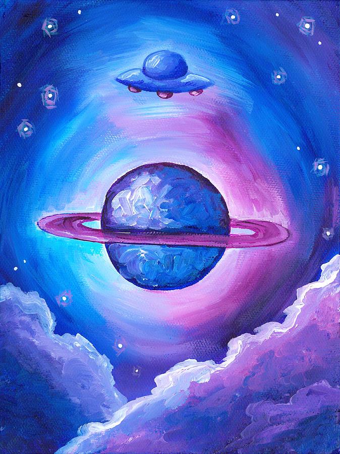 сатурн рисунок карандашом цветной головой, середину