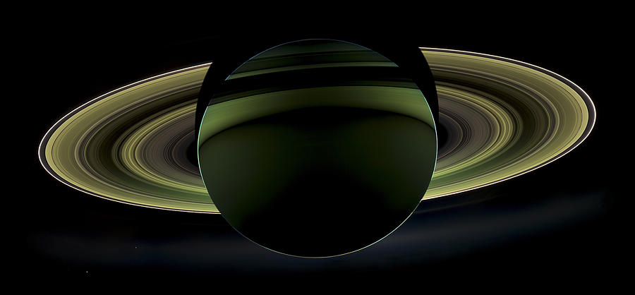 3scape Photos Photograph - Saturns Glowing Rings by Adam Romanowicz