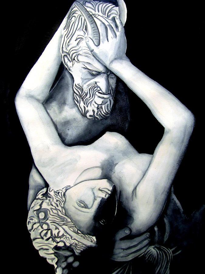 Sculpture Painting - Satyre Et Bacchante by Emmanuel Turner