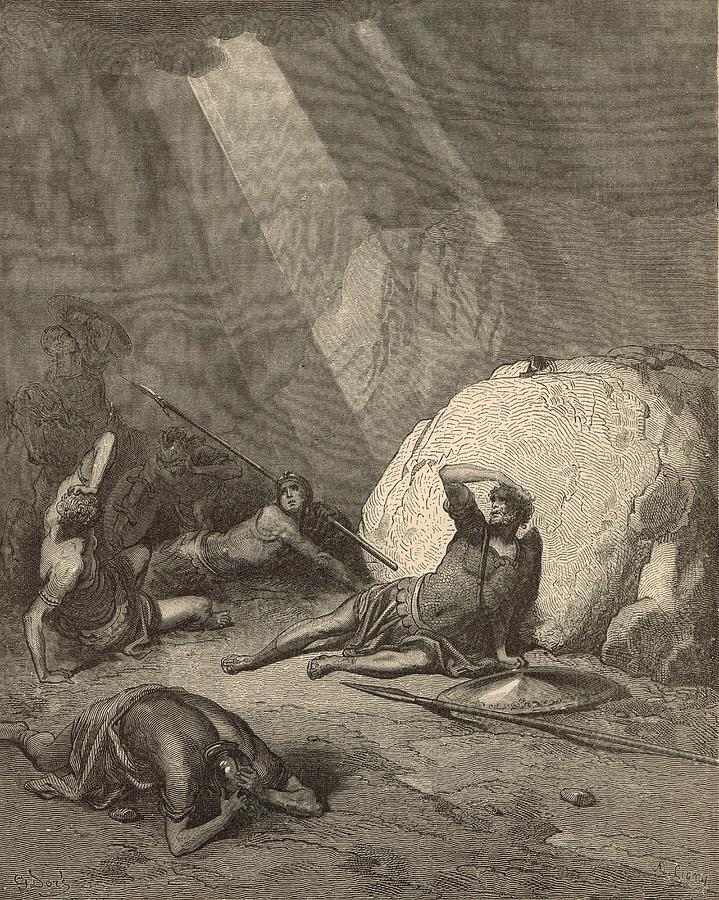 Biblical Drawing - Sauls Conversion by Antique Engravings