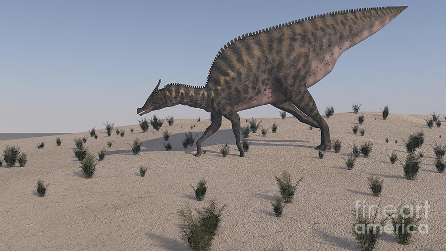 Dinosaur Digital Art - Saurolophus Walking Across A Barren by Kostyantyn Ivanyshen