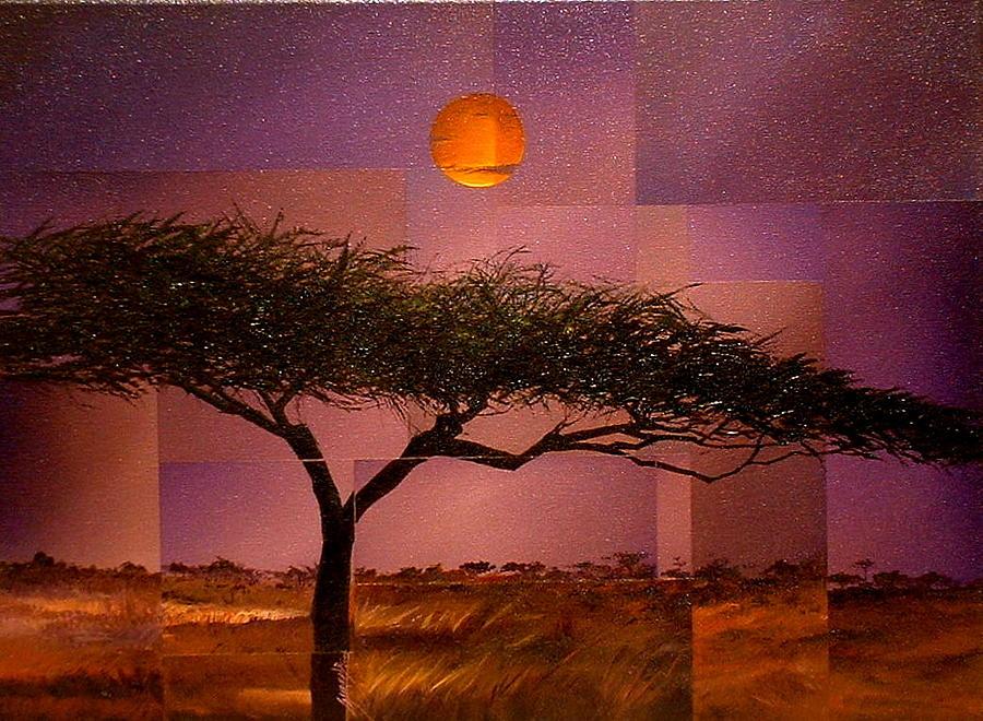 African Painting - Savane by Laurend Doumba