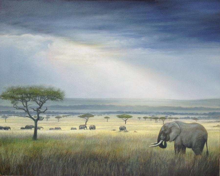 Savanna Painting by Riek  Jonker