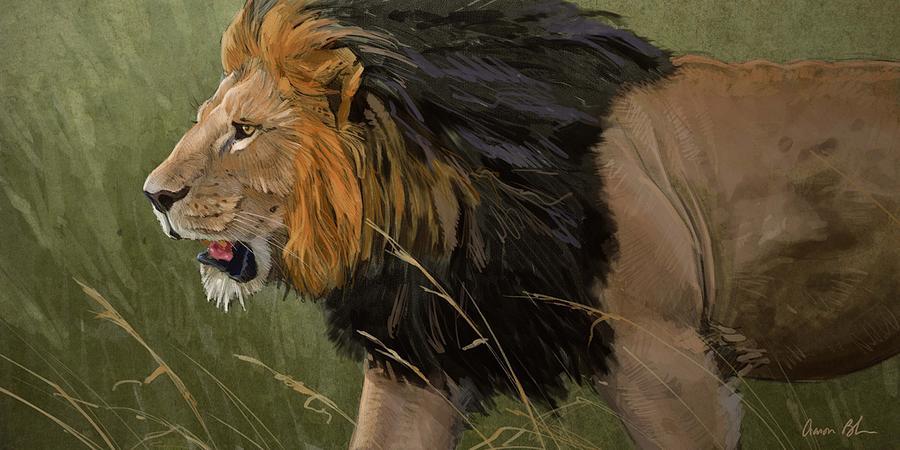 Lion Digital Art - Savannah Patrol by Aaron Blaise