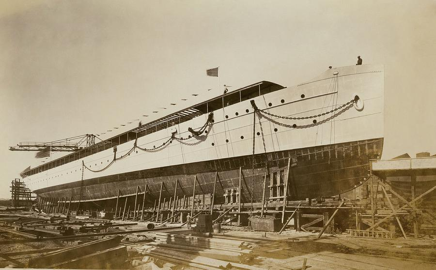 Ship Photograph - Savarona Yacht In Shipyard by Hagley Museum And Archive