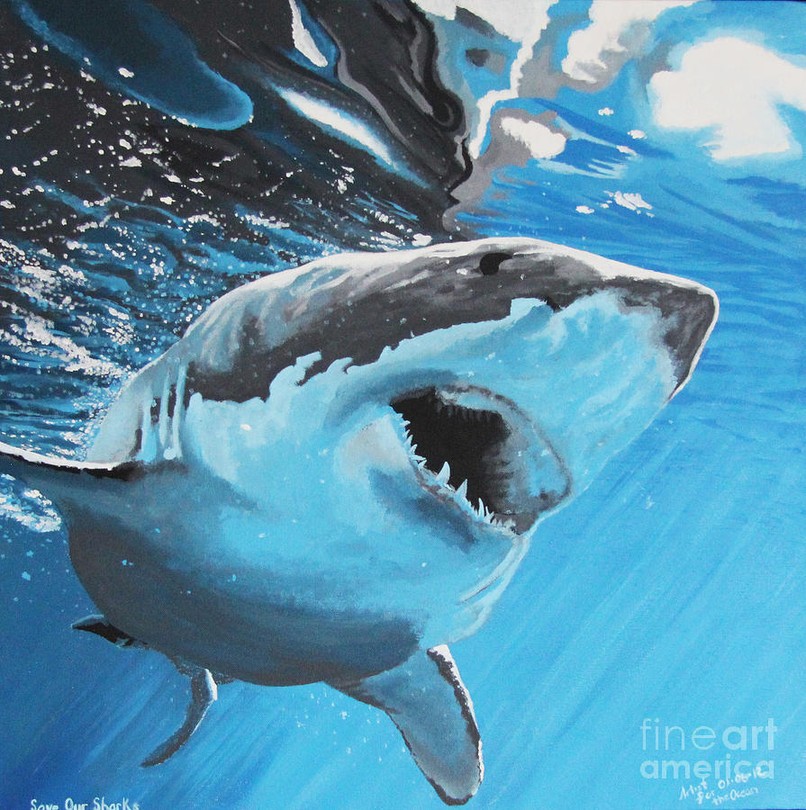 Sharks Painting - Save Our Sharks by Robert Timmons