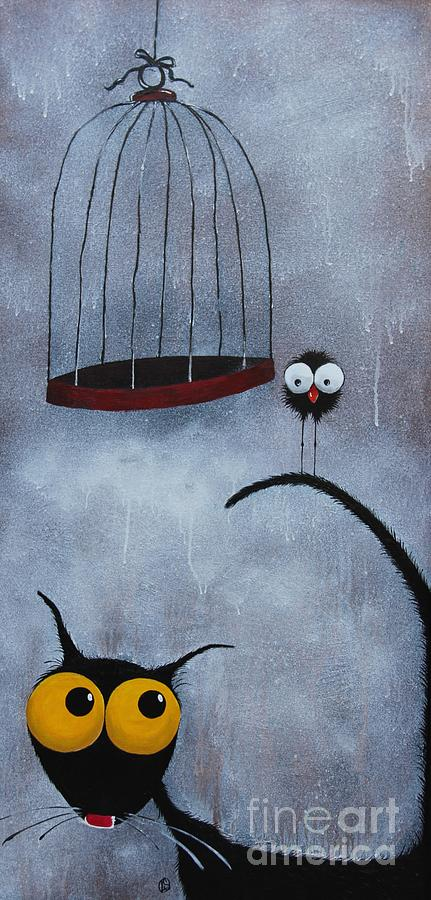 Black Cat Painting - Save The Bird by Lucia Stewart