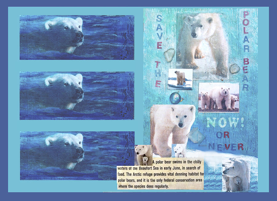 Ecology Mixed Media - Save The Polar Bear Now Or Never by Mary Ann  Leitch
