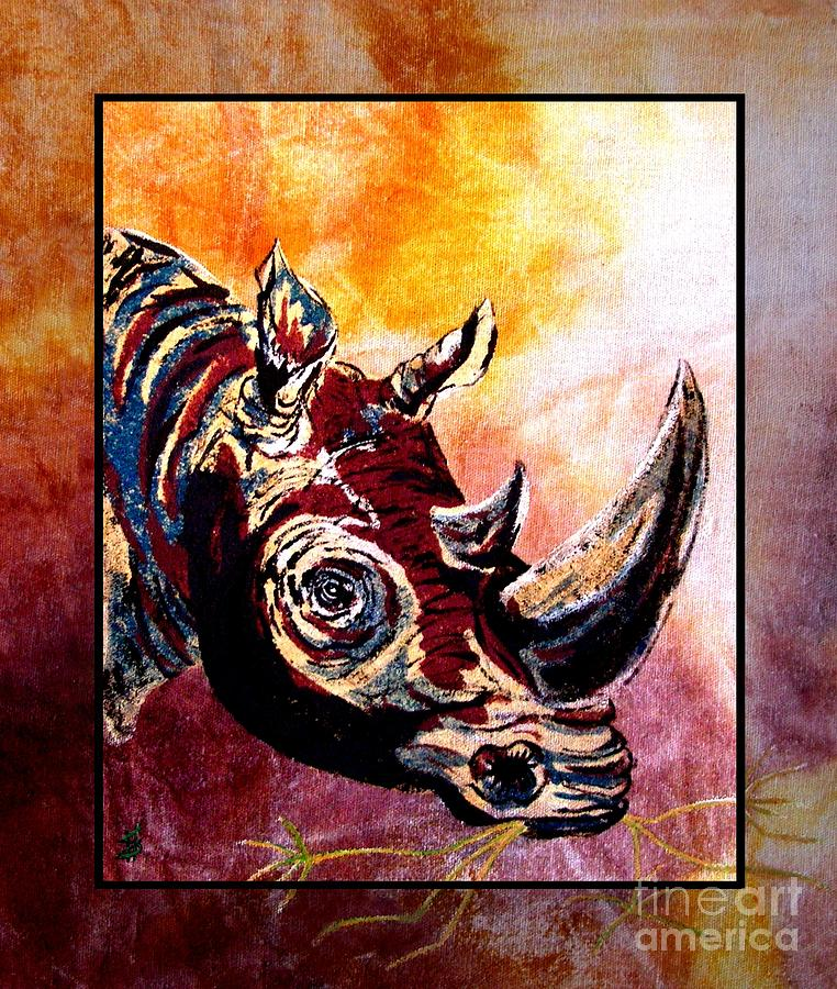 Rhino On Canvas Painting - Save The Rhino by Sylvie Heasman