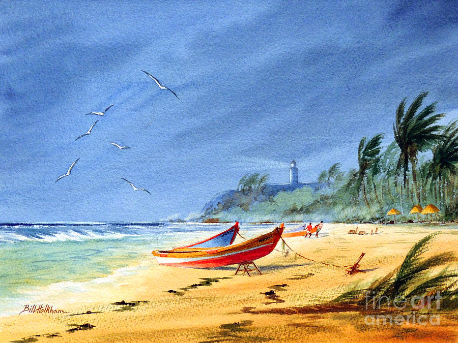 Puerto Rico Painting - Saving The Fishing Boats - Maunabo Beach Puerto Rico by Bill Holkham